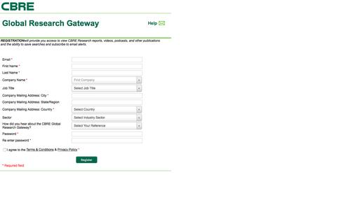 Screenshot of Landing Page cbre.com - Register User - captured Aug. 19, 2016