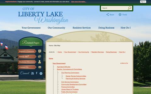 Screenshot of Site Map Page libertylakewa.gov - Liberty Lake, WA - Official Website - captured Oct. 2, 2014