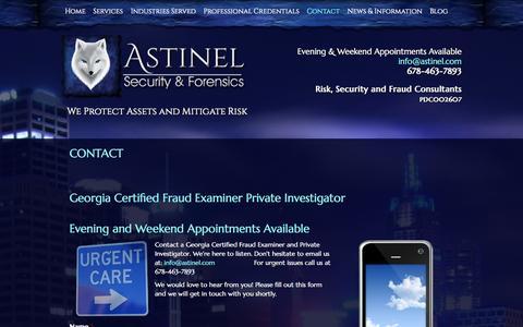 Screenshot of Contact Page astinel.com - Georgia Certified Fraud Examiner Private Investigator - captured Nov. 2, 2014