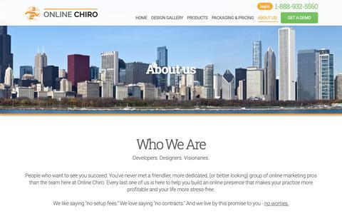 Screenshot of About Page Contact Page onlinechiro.com - hiropractic Websites | Chiro Marketing | Chiropractor Website Design | SEO - captured Dec. 12, 2018