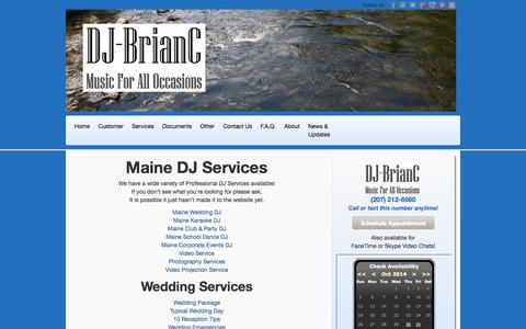 Screenshot of Services Page djbrianc.us - Maine DJ Services   Wedding Disc Jockey Service in Maine - captured Oct. 29, 2014