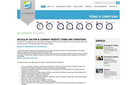 Screenshot of Terms Page mccaulaydalton.com.au - Terms & Conditions | McCAULAY DALTON - captured Oct. 27, 2014