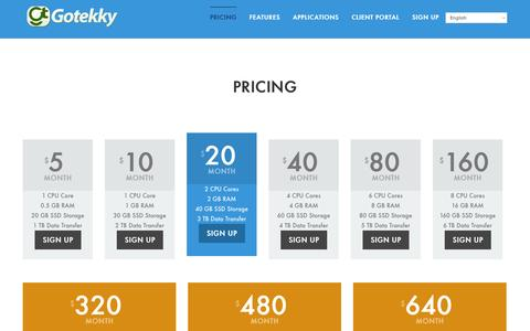Screenshot of Pricing Page gotekky.com - High Performance & Reliable VPS HostingVPS Hosting & Dedicated Server Worldwide by Gotekky - captured Sept. 30, 2014