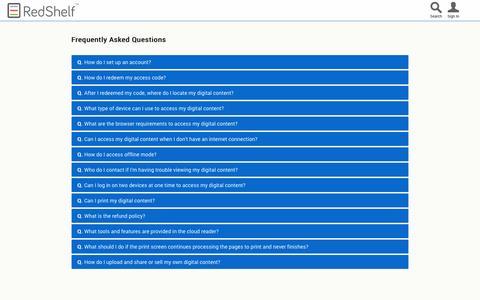 Screenshot of FAQ Page redshelf.com - RedShelf | Buy, sell and read — digital books, textbooks, documents & more | FAQ - captured Sept. 17, 2014