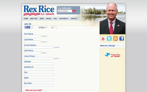 Screenshot of Signup Page rexrice.com - Rex Rice for S.C. Senate -   Join Us - captured Oct. 9, 2014