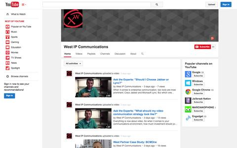 Screenshot of YouTube Page youtube.com - West IP Communications  - YouTube - captured Oct. 25, 2014