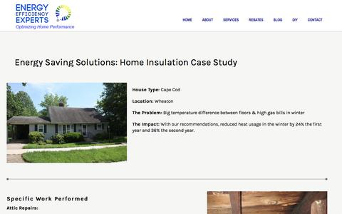 Screenshot of Case Studies Page energyefficiencyexperts.com - Energy Saving Solutions Silver Spring MD   Attic Insulation - captured May 19, 2017