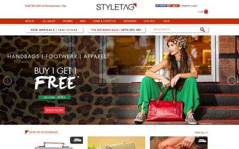 Screenshot of Home Page styletag.com - Online Shopping Discount For Designer Brands Clothing | Buy Designer Dresses At - Styletag - captured Sept. 18, 2014