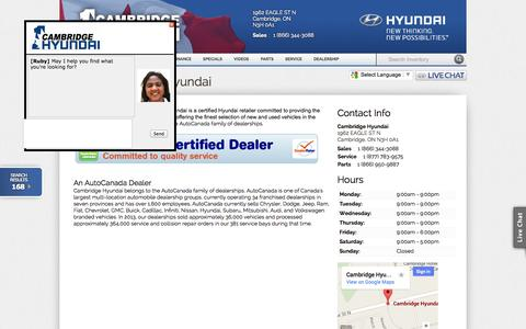 Screenshot of About Page Hours Page cambridgehyundai.com - Cambridge Hyundai Dealership in the The Greater Kitchener-Waterloo Area   Cambridge ON - captured Oct. 26, 2014