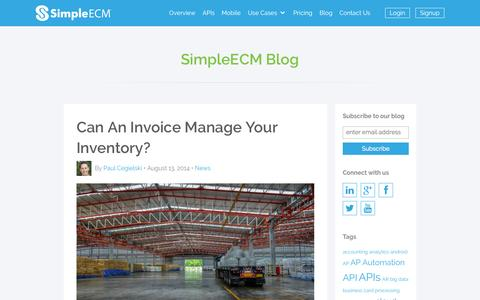 Screenshot of Privacy Page simpleecm.com - Inventory management via invoice documents - captured Oct. 26, 2014