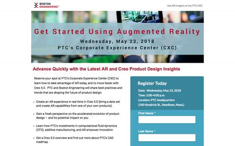 Screenshot of Landing Page boston-engineering.com - Try AR at PTC - captured May 28, 2018