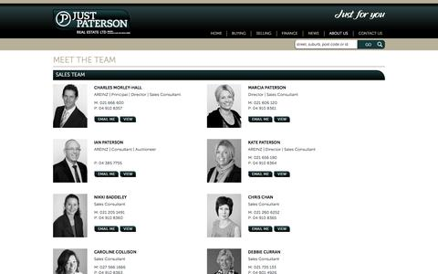 Screenshot of Team Page justpaterson.co.nz - Just Paterson Real Estate Ltd specialises in real estate in New Zealand (NZ) | justpatterson.co.nz - Our Team - captured June 15, 2016