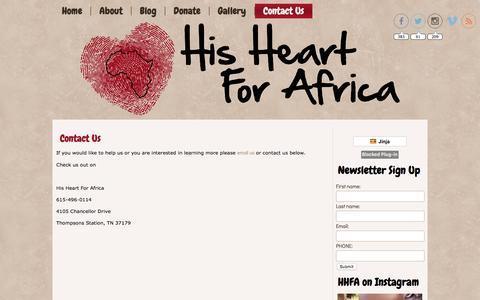 Screenshot of Contact Page hisheartforafrica.org - Contact Us - captured Jan. 30, 2016