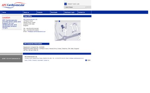 Screenshot of Contact Page apccardiovascular.co.uk - APC Cardiovascular Ltd - Location - captured Oct. 4, 2014