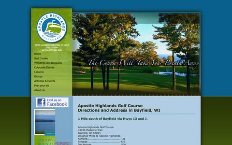 Screenshot of Maps & Directions Page golfbayfield.com - Need to have more directions to the Apostle Highlands Golf Course? - 877-222-4053 - captured Oct. 4, 2014