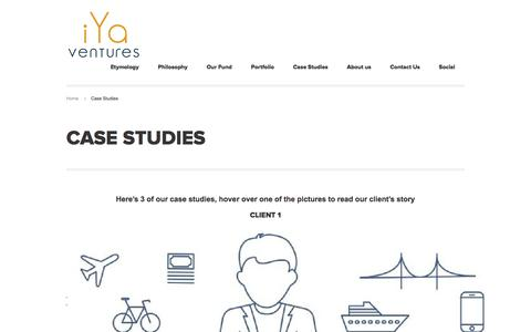 Screenshot of Case Studies Page iyaventures.com - Case Studies - iYa Ventures - captured Jan. 9, 2016
