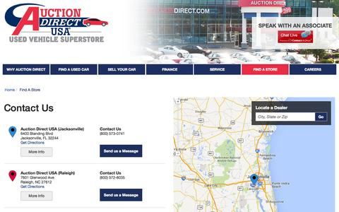 Screenshot of Contact Page Locations Page auctiondirectusa.com - Auction Direct USA Locations in Rochester NY, Jacksonville FL, or Raleigh NC - captured Oct. 23, 2014
