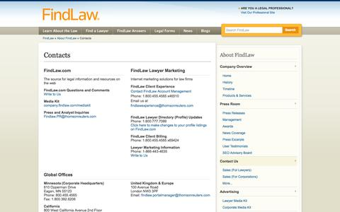 Screenshot of Contact Page findlaw.com - Contacts - FindLaw - captured Oct. 22, 2014