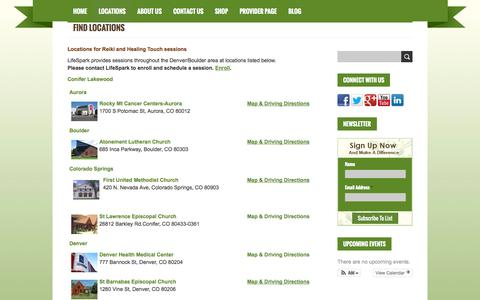 Screenshot of Locations Page lifesparknow.org - Find Locations where you can receive alternative healing for Cancer from LifeSpark Cancer Resources | LifeSpark Cancer Resources - captured Oct. 2, 2014