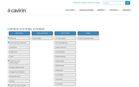 Screenshot of Site Map Page cavirin.com - Cavirin Systems Sitemap - captured June 3, 2017