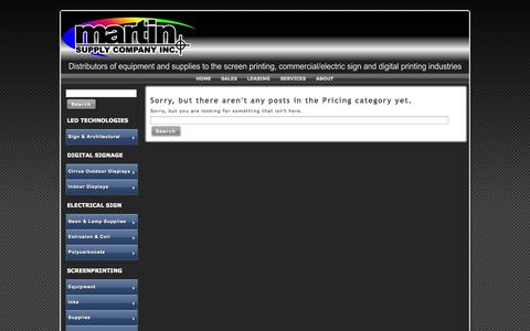 Screenshot of Pricing Page martin-supply.com - Pricing | Martin Supply Company Inc. - captured Oct. 27, 2014