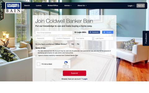 Screenshot of Signup Page coldwellbankerbain.com - Signup - captured Sept. 21, 2016