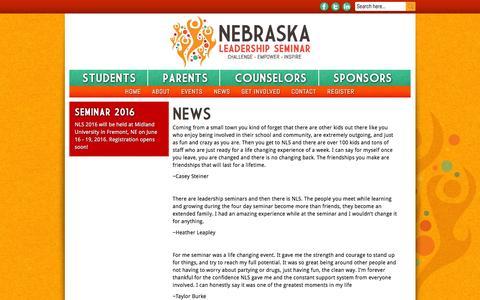 Screenshot of Press Page nebraskaleadership.org - News   Nebraska Leadership Seminar - captured Feb. 14, 2016