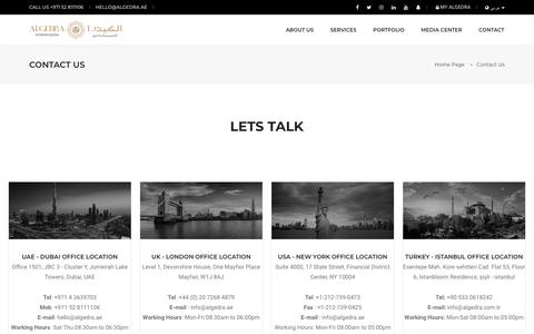 Screenshot of Contact Page algedra.ae - Contact Us for Your Home & Office Design Services | ALGEDRA - captured July 25, 2019