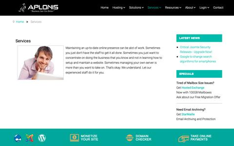 Screenshot of Services Page aplonis.com - Services - captured Oct. 3, 2018