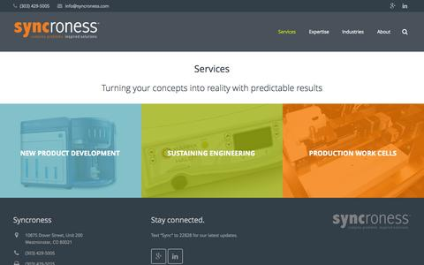 Screenshot of Services Page syncroness.com - Product Development Services - captured Nov. 18, 2015