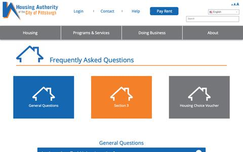 Screenshot of FAQ Page hacp.org - Frequently Asked Questions - Housing Authority of the City of Pittsburgh - captured Dec. 16, 2018