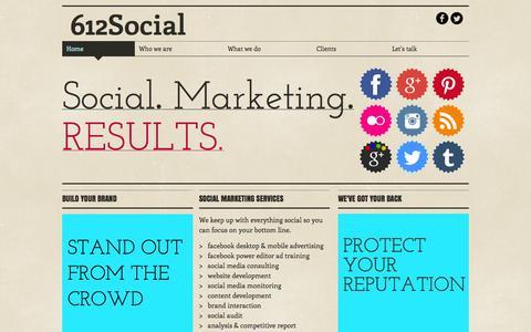 Screenshot of Home Page 612social.com - Social media marketing services - captured Sept. 30, 2014