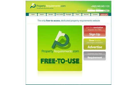 Screenshot of Home Page propertyrequirements.com - Property Requirements :: the dedicated, comprehensive, and free-to-access database of UK and Ireland commercial property requirements - captured Oct. 1, 2014