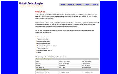 Screenshot of Services Page unisoftechinc.com - Services - captured Nov. 5, 2014