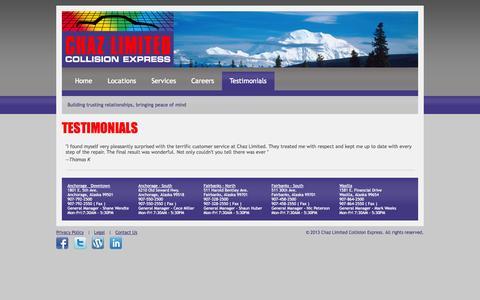 Screenshot of Testimonials Page chazltd.com - Chaz Limited Collision Express - captured Oct. 2, 2014