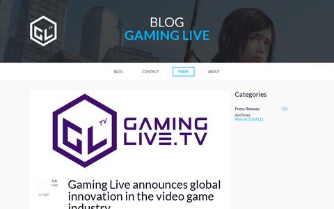 Screenshot of Press Page gaminglive.tv - Blog - Gaming Live TV - captured July 18, 2014