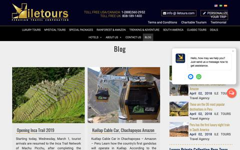 Screenshot of Blog iletours.com - Luxury Destinations in south america - Machu Picchu - Ecuador Galapagos - captured Oct. 1, 2018