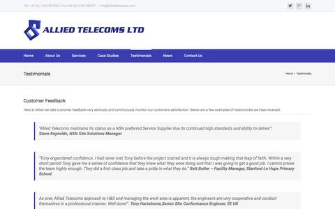 Screenshot of Privacy Page Testimonials Page alliedtelecoms.com - Testimonials – Allied Telecoms Ltd - captured July 25, 2016
