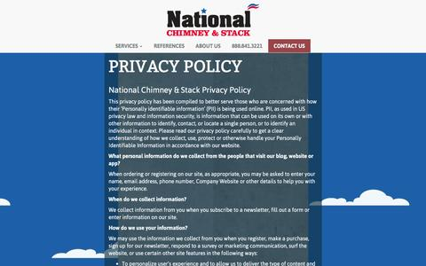 Screenshot of Privacy Page nationalchimneystack.com - Privacy Policy   National Chimney & Stack - captured Jan. 10, 2016