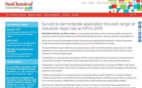 SunJet to demonstrate application focused range of  industrial inkjet inks at InPrint 2014 | Sun Chemical