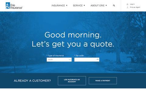 Screenshot of Home Page erieinsurance.com - Auto, Home, Life and Business Insurance | Erie Insurance - captured Oct. 7, 2019