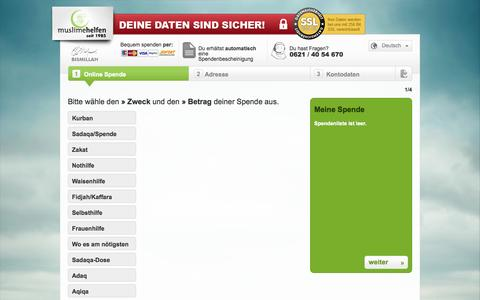 Screenshot of Menu Page muslimehelfen.org - Spendenformular | muslimehelfen e.V. - captured Sept. 22, 2014