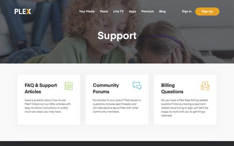 Screenshot of Support Page plex.tv - Plex Support | Plex Media Server Support - captured July 20, 2019