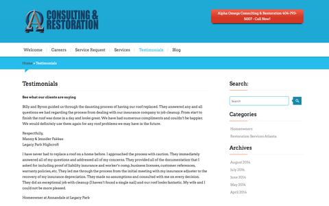 Screenshot of Testimonials Page alphaomegacr.com - Testimonials - Alpha Omega Consulting & Restoration | Roofing | MitigationAlpha Omega Consulting & Restoration | Roofing | Mitigation - captured Oct. 4, 2014
