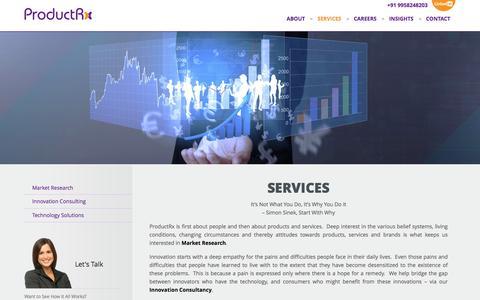 Screenshot of Services Page productrx.com - Services - ProductRx - captured Jan. 31, 2016