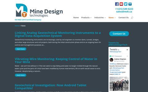 Screenshot of Press Page mdt.ca - Mine Design Technologies News | Mine Design Technologies - captured Nov. 15, 2018