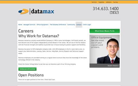 Screenshot of Jobs Page datamaxstl.com - Careers | Datamax St. Louis - captured Oct. 5, 2014