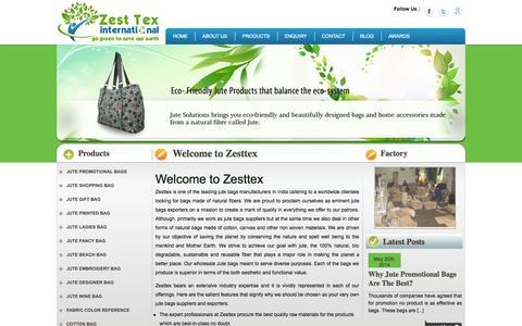 Screenshot of Home Page zesttex.com - Zesttex - Wholesale Online Jute Bags suppliers, Exporters, USA, UK - captured Sept. 25, 2014