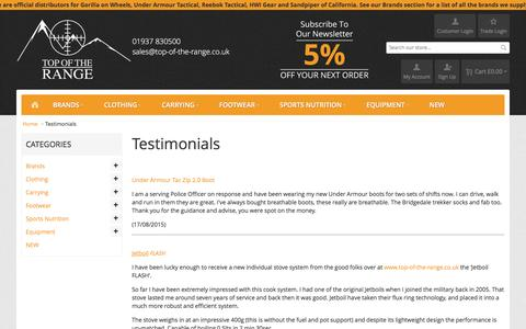 Screenshot of Testimonials Page top-of-the-range.co.uk - Testimonials  - Top of the Range - captured Feb. 17, 2016