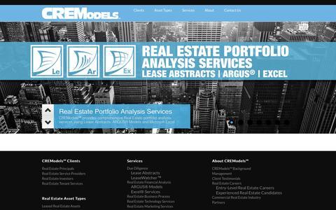 Screenshot of Home Page cremodels.com - CREModels℠ - ARGUS® Models | Excel® Services | Lease Abstracts | 201-252-7487 - captured Jan. 16, 2015